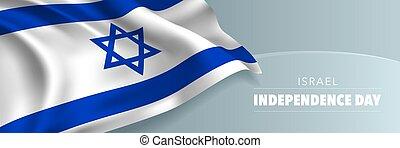 vettore, israele, indipendenza, augurio, bandiera, giorno, scheda