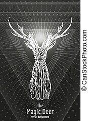 vettore, istruzioni di salto, concetto, silhouette, deer., forma, mistico, astratto, wireframe, cervo, lines., illustrazione, punti, monocromatico, geometrico, constructed