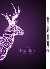 vettore, istruzioni di salto, testa, concetto, silhouette, forma, mistico, astratto, wireframe, cervo, lines., illustrazione, deer., viola, geometrico, punti, constructed