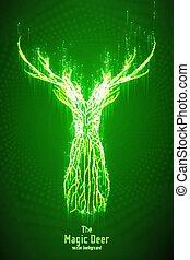 vettore, istruzioni di salto, testa, concetto, silhouette, forma, mistico, astratto, wireframe, cervo, lines., illustrazione, deer., verde, geometrico, punti, constructed