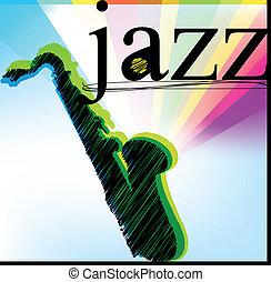 vettore, jazz., illustrazione