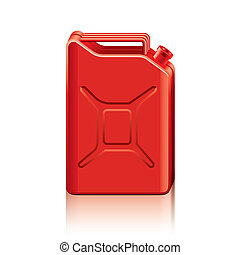 vettore, jerrycan, illustrazione, rosso