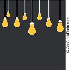 vettore, lampadine, luce, illustrazione