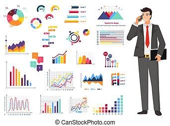 vettore, lavoratore, grafico, conteggio, relazione, finanza