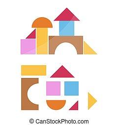 vettore, legno, day., colorito, giocattolo, fondo., bianco, childrens, illustration., blocchi, casato, elementi