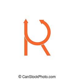 vettore, lettera, rk, logotipo, freccia, cerchio