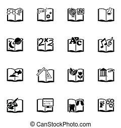 vettore, libri scolastici, set, nero, icona