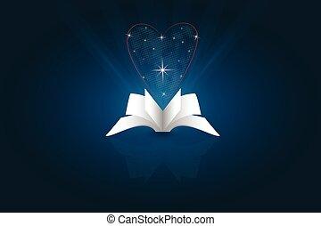 vettore, libro, aperto