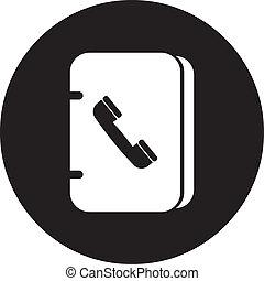vettore, libro, indirizzo, icona