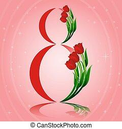 vettore, light., magia, concetto, marzo, internazionale, disegno, 8, day., augurio, s, cartolina, ardendo, scheda, illustration., elegante, donne, tulips