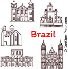 vettore, limiti, icone, brasile, architettura