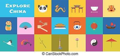 vettore, limiti, set, porcellana, icone
