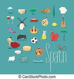 vettore, limiti, set, spagnolo, icone