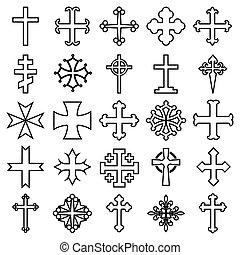 vettore, linea, illustrazione, -, fondo, cristiano, 25, isolato, icone, bianco, crocifissi, croci