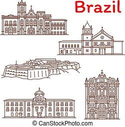 vettore, linea, limiti, icone, brasile, architettura