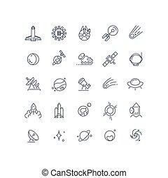 vettore, linea, spazio, astronomia, icone