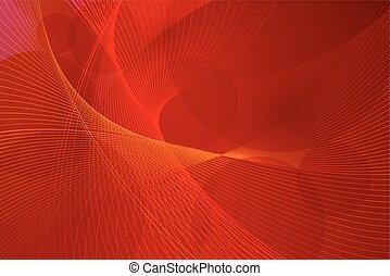 vettore, linee, sfondo rosso, onda