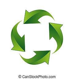 vettore, logotipo, creativo, 3d, riciclaggio, concetto, illustrazione, disegno