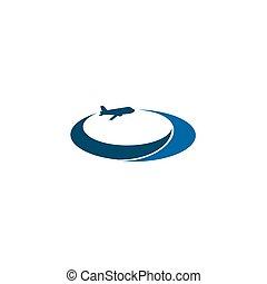 vettore, logotipo, disegno, viaggiare, ditta, aeroplano, tempate, icona