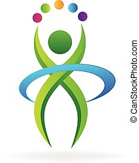 vettore, logotipo, icona, idoneità, persona