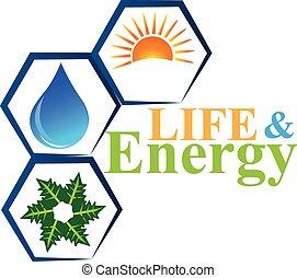 vettore, logotipo, vita, elementi, energia