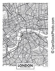 vettore, londra, mappa urbana, manifesto
