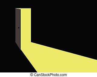 vettore, luce, door., aperto, illustration.