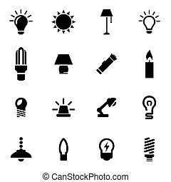 vettore, luce, set, nero, icona