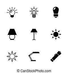 vettore, luce, set, nero, icone