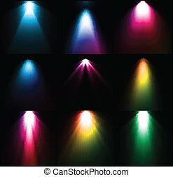vettore, luce, set, sources., colorito