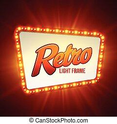 vettore, lucente, luce, banner., illustrazione, retro