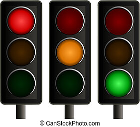 vettore, luci, set, traffico, tre