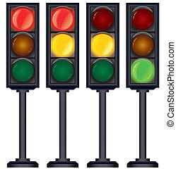 vettore, luci, set, traffico, variation.