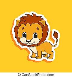 vettore, luminoso, divertente, colorare, carino, disegno, adesivo, fondo., lion., element., isolato, illustrazione, cartone animato, character., appartamento
