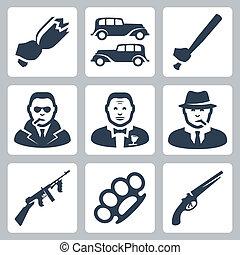 vettore, mafia, set, isolato, icone