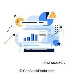 vettore, magazzino, informazioni, concept., dati, analysys, elaborazione, illustration., analisi, affari