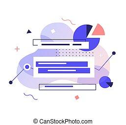 vettore, magazzino, informazioni, concept., dati, analysys, elaborazione, illustration., analisi, astratto, affari