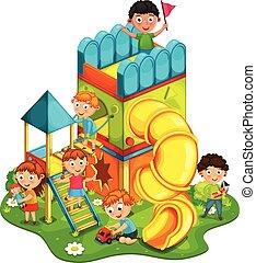 vettore, malato, bambini, parco, gioco