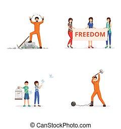 vettore, manette, birdcage., catene, combattimento, incatenato, libertà, piccioni, activists, persona, dimostrazione, regolazione, prigioniero, libero, femmina, illustrazioni, cartellone, strappo, bambini, set.