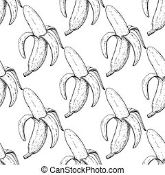 vettore, mano, isolato, disegnato, oggetto, pattern., seamless, buccia, banana
