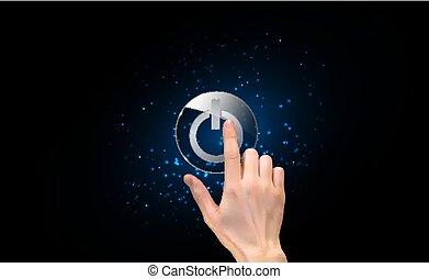 vettore, mano, silhouette, dito, 3d, realistico, button., urgente, potere, illustrazione