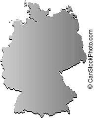 vettore, mappa, contorno, isolato, germania, illustrazione