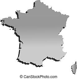 vettore, mappa, francia, contorno, grigio