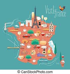 vettore, mappa, francia, disegno, illustrazione