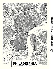 vettore, mappa urbana, manifesto, filadelfia