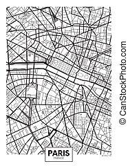 vettore, mappa urbana, parigi, manifesto
