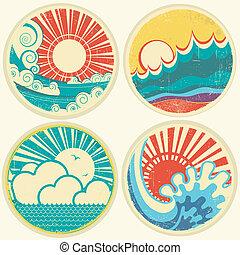 vettore, mare, sole, waves., marina, icone, vendemmia, illustrazione