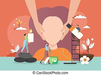 vettore, massaggio, faccia, donna, illustrazione, appartamento, giovane, terme, prendere, salon.