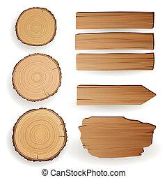 vettore, materiale, legno, elementi