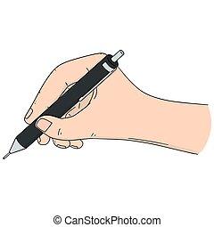 vettore, matita, set, scrittura mano